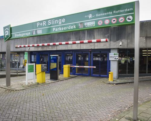 Entrance to park and ride Slinge